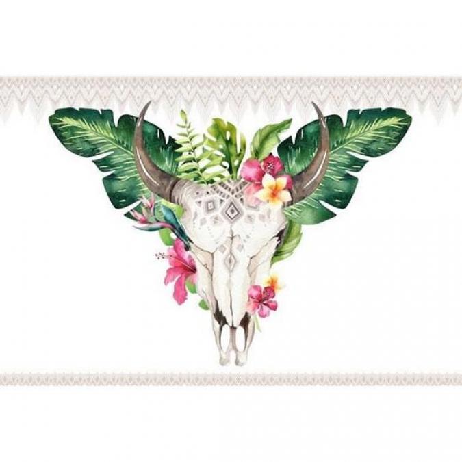 Tableau Glassart Skull Floral